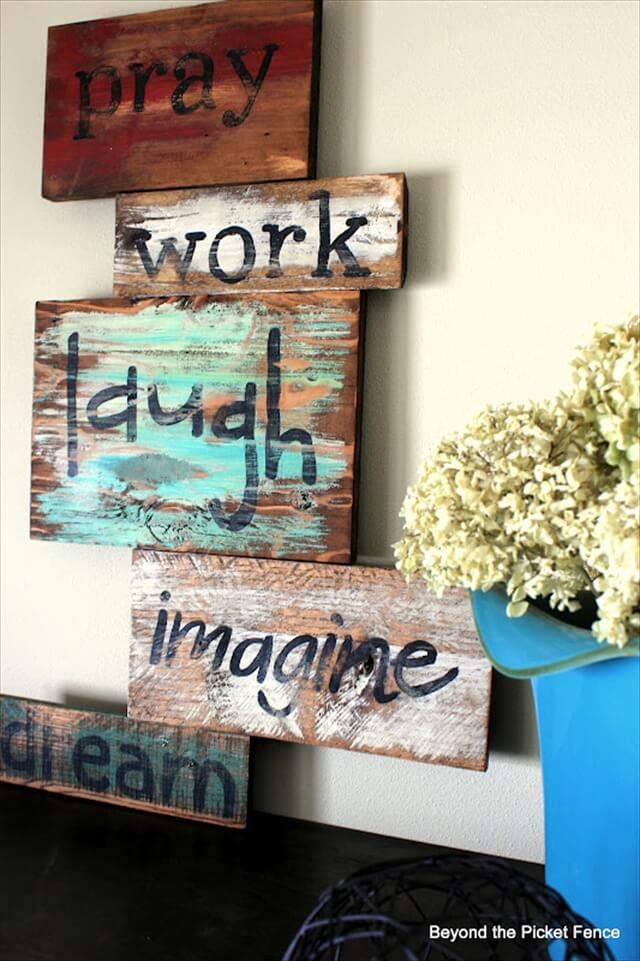 Wooden Words Wall Art : Diy wise words art over pallets wood