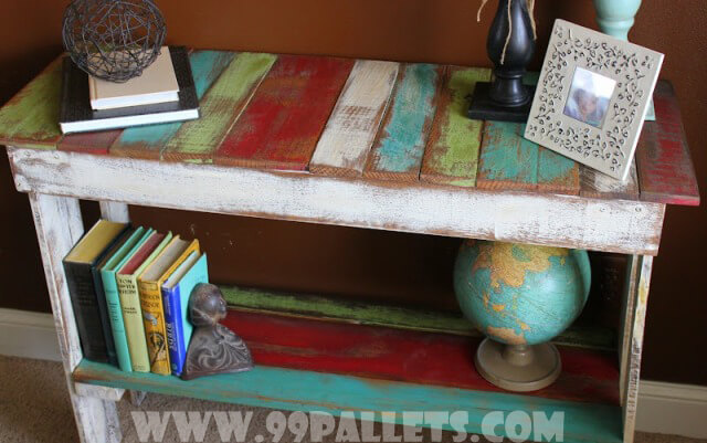 Storage Bench Rack out of Old Pallets Wood
