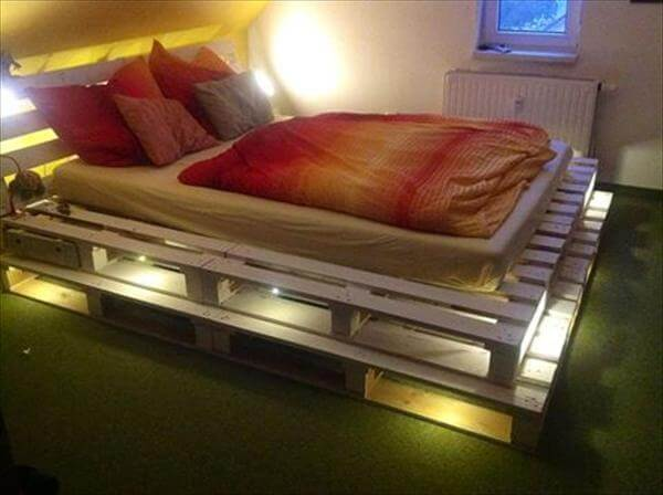 Diy 20 pallet bed frame ideas 99 pallets for Pallet bed frame with lights