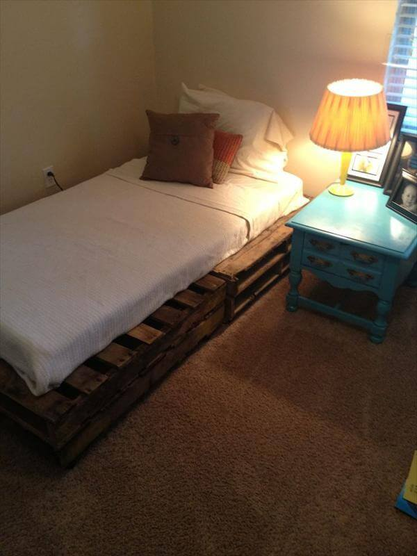 Wooden pallet beds frame.
