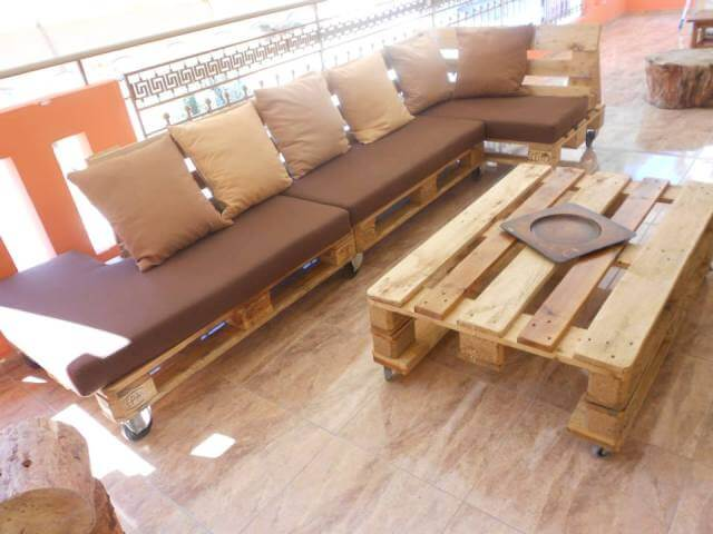 Pallet Terrace Furniture, Sectional Sofa Table | 99 Pallets