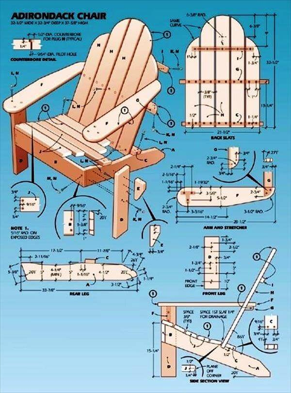 Simple upcycled pallet adirondack chair instructions 99 pallets - Ligstoel pour table ...