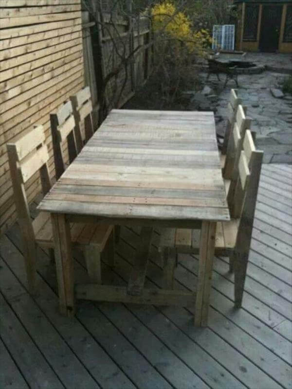 diy pallet dining table set