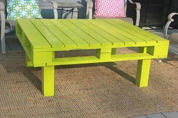 Diy Pallet Coffee Table In Green