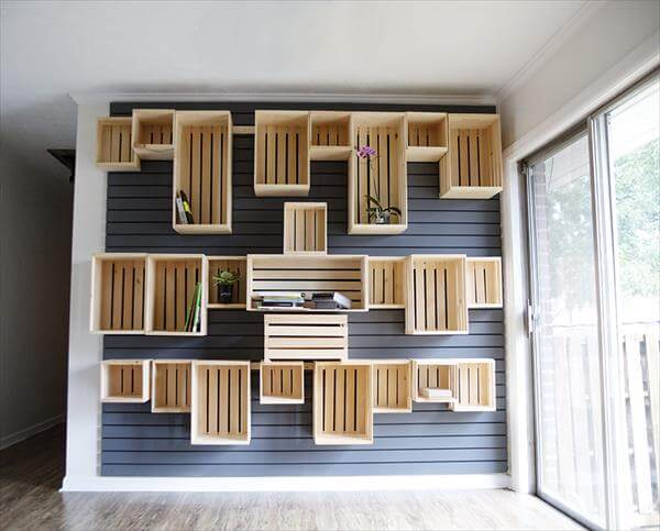 diy crate wall