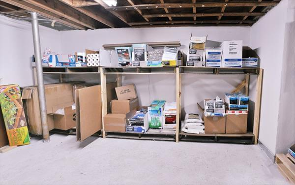 pallet and crate basement shelves