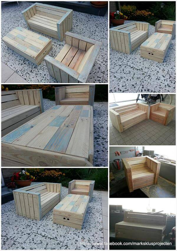 posts pallet outdoor sofa with table for lounge diy pallet outdoor ...