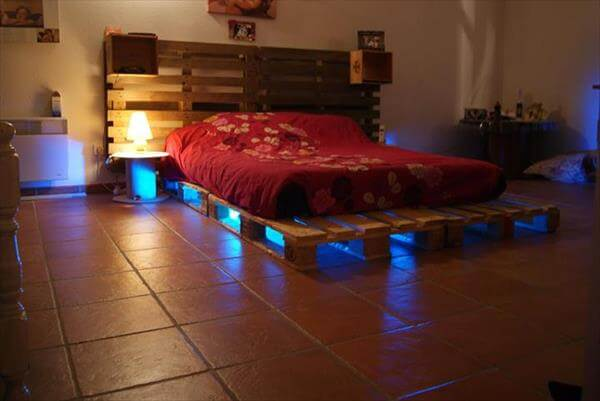 5 diy beds made from wooden pallets 99 pallets for Pallet bed frame with side tables