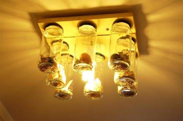 pallet mason jar chandelier