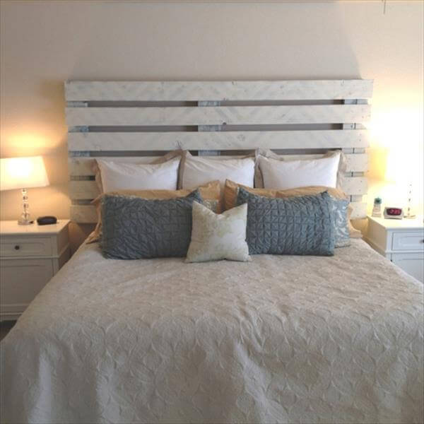 40 recycled diy pallet headboard ideas 99 pallets. Black Bedroom Furniture Sets. Home Design Ideas