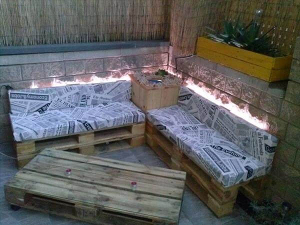 pallet sofa with lights and table