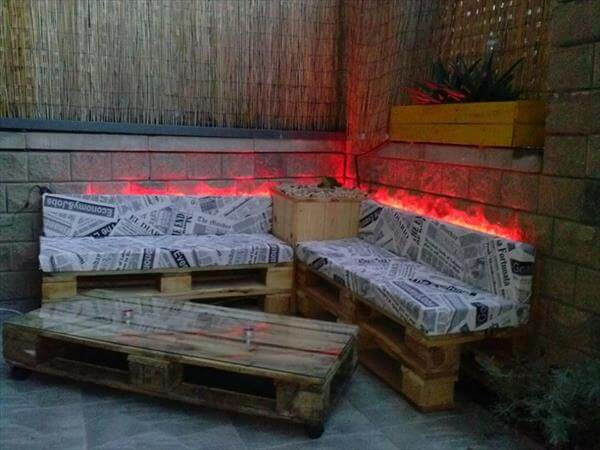 DIY Pallet Sofa And Table With Lights 99 Pallets