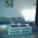 Pallet Living room Sofa with Lights and Coffee Table