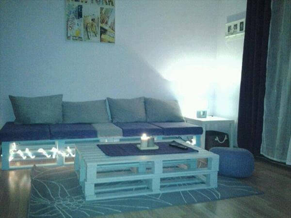 Pallet Sofa with Lights and Coffee Table