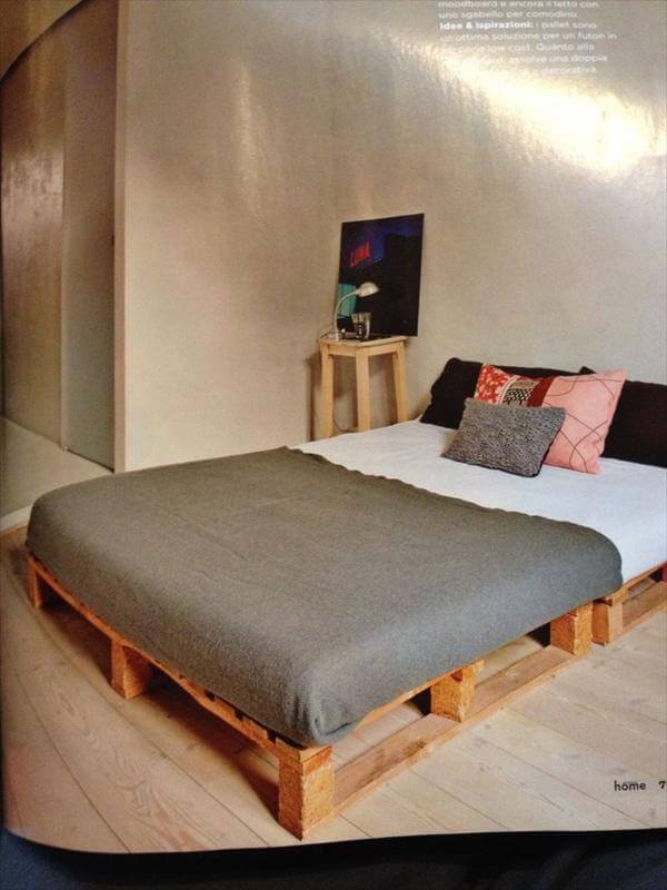diy simple pallet bed frame 9 diy easy wooden pallet bed ideas 99 pallets