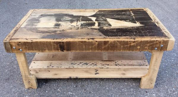 Pallet Coffee Table With Recycled Wood Shelf 99 Pallets