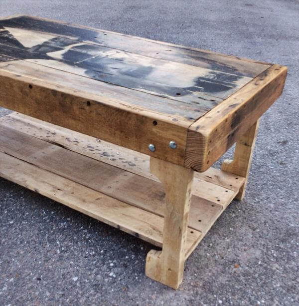 Wood Pallet Coffee Table ~ Pallet coffee table with recycled wood shelf pallets