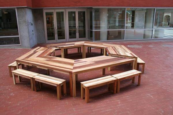DIY Pallet Hexagonal Table With Benches 99 Pallets