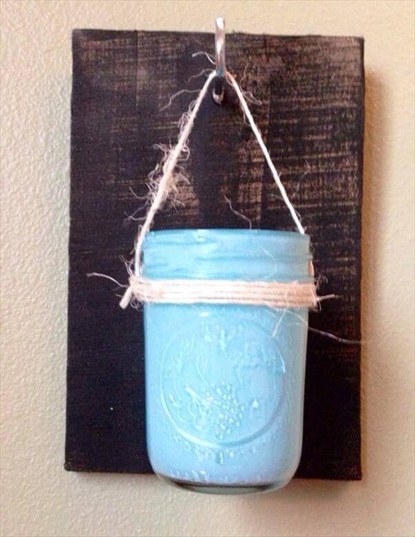 recycled pallet mason jar vase