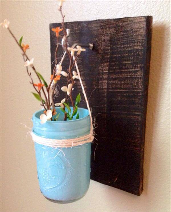 repurposed pallet mason jar vase