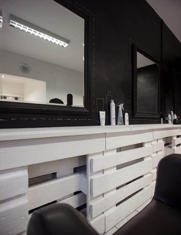 recycled pallet hair shop dresser
