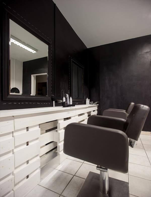 reclaimed pallet hair shop dresser