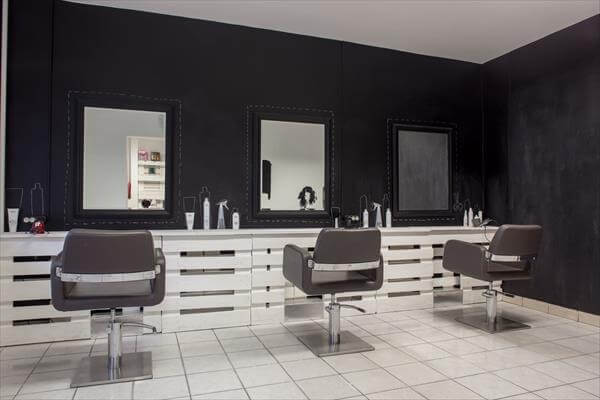 upcycled  pallet renovated hair shop