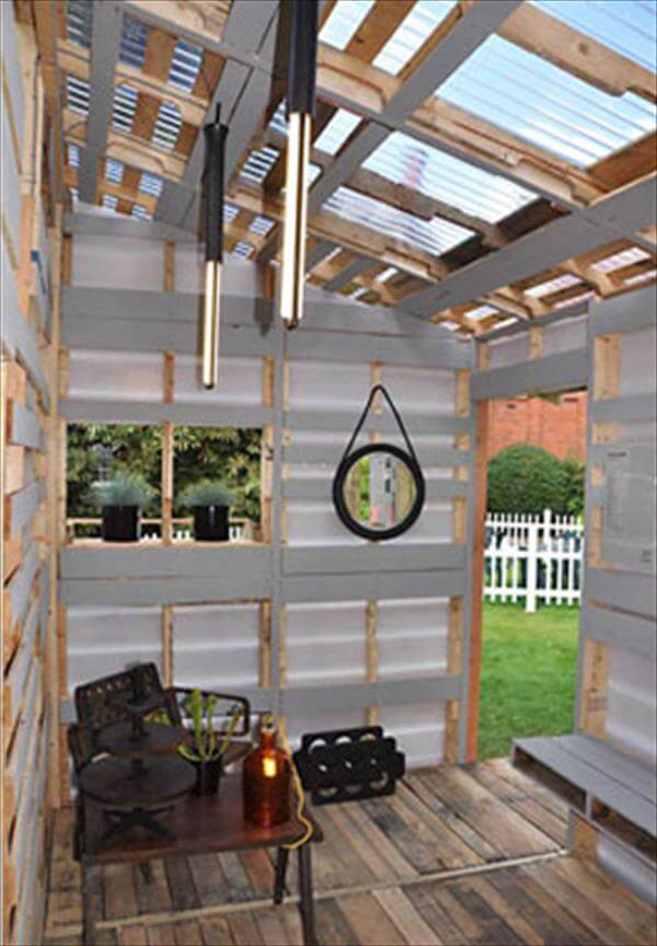 reclaimed pallet house interior