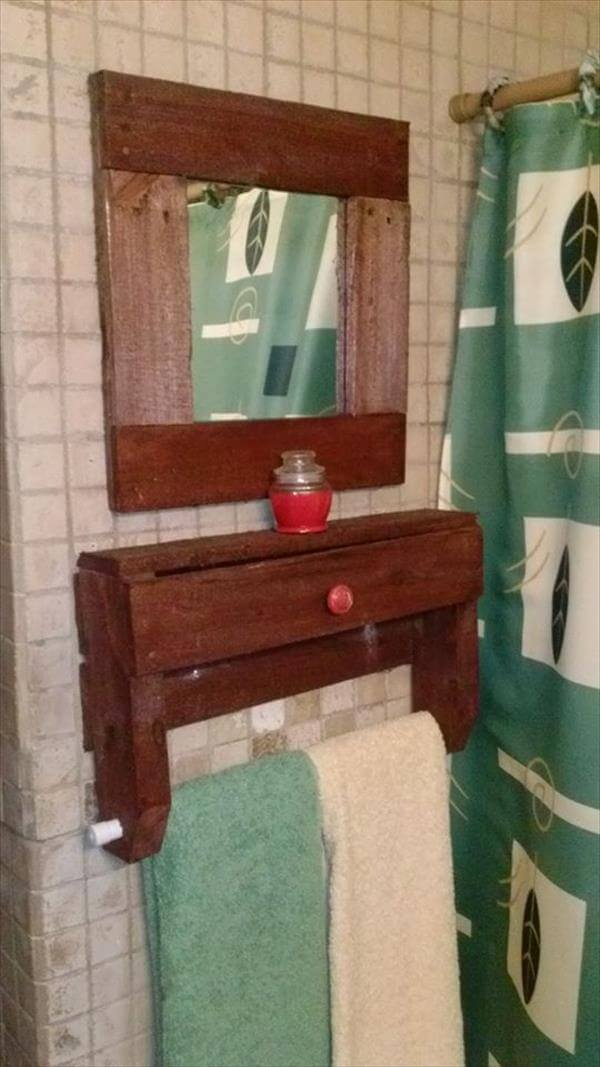 recycled pallet bathroom shelf and mirror frame