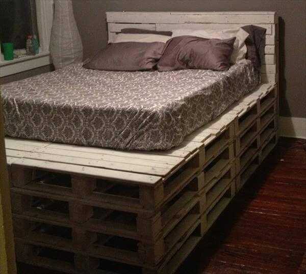 Diy Queen Size Pallet Bed With Headboard, Pallet Headboard For Queen Bed