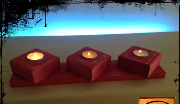 salvaged pallet candle holder