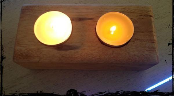 regained pallet candle holder