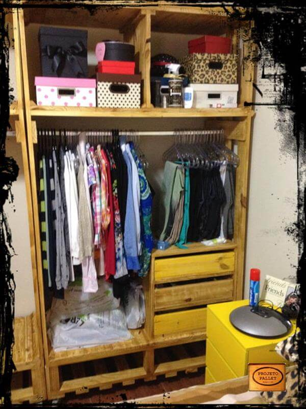 DIY Pallet Closet with Shoe Rack Pallet Closet – Wardrobe Made from ...