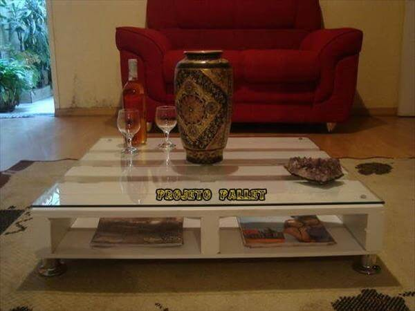 White Pallet Coffee Table diy pallet coffee table in white color | 99 pallets