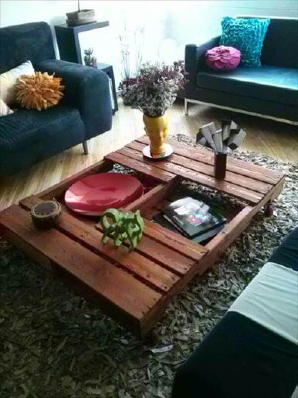 Diy tutorials diy how to build a pallet coffee table 99 for Table basse palette