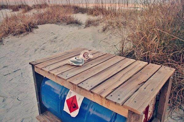 repurposed pallet drum gallon table