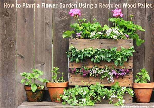 diy pallet mini flower vertical garden