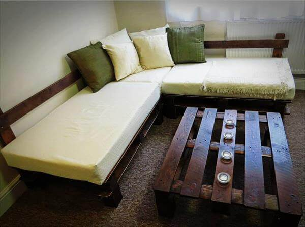 DIY Pallet Sectional Sofa With Lights 99 Pallets