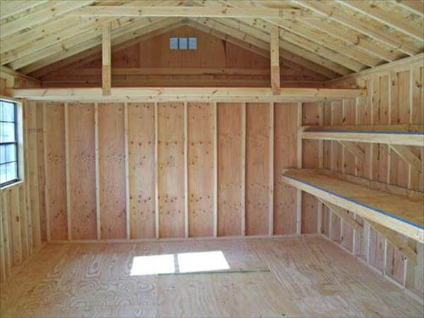 Simple and wide ledges and arranged mantelpiece pallet shed interior ...