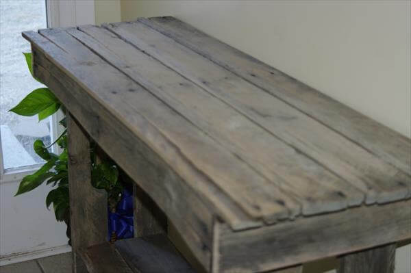 Diy simple pallet sofa table 99 pallets for Sofa table made from pallets