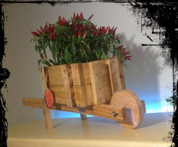 recycled pallet wheel planter