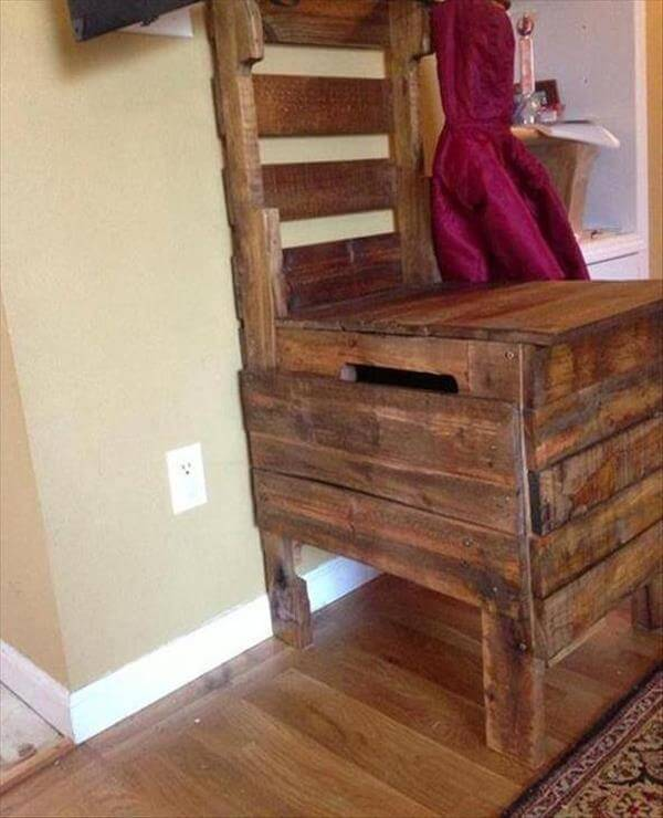 Diy Pallet Chair With Storage Area 99 Pallets
