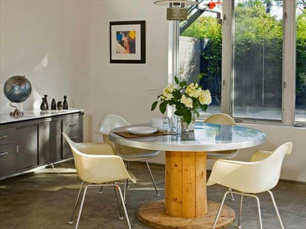 recycled cable drum dining table