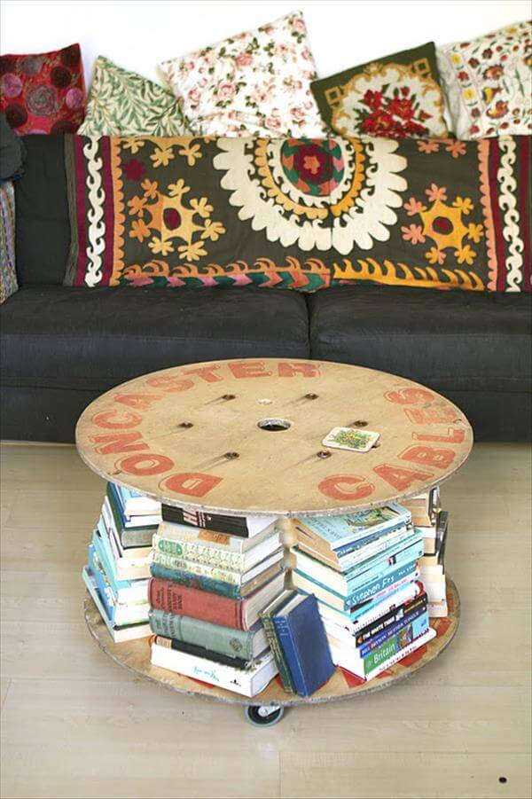 redeemed cable drum table with bookshelves