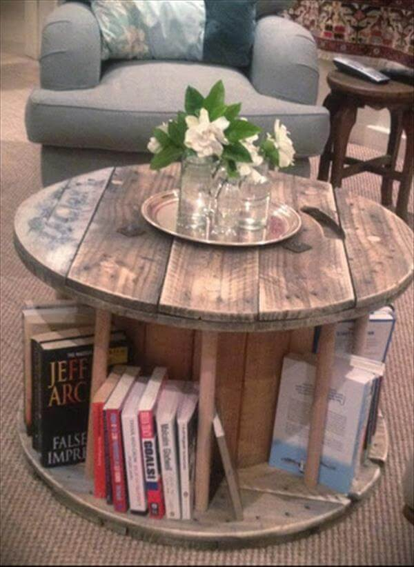 rustic cable drum table with books diy