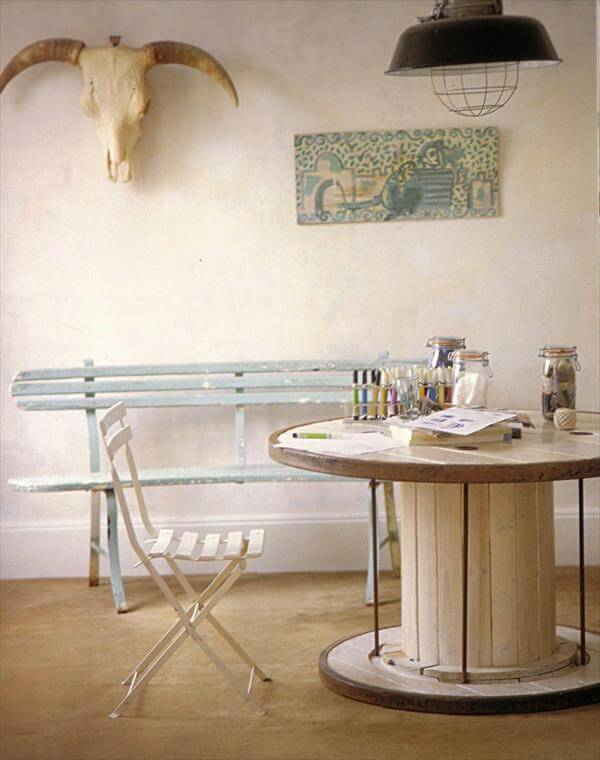 repurposed cable drum study table