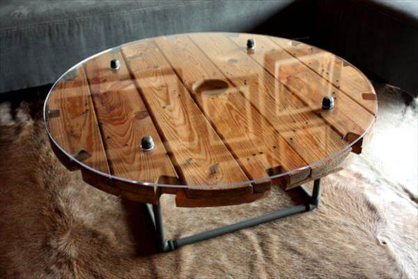 retrieved cable drum table
