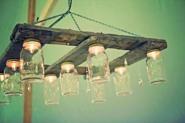 upcycled pallet chandelier