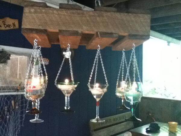 recycled pallet candle chandelier