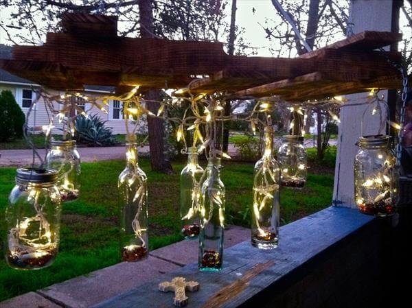 diy solar paneled pallet chandelier